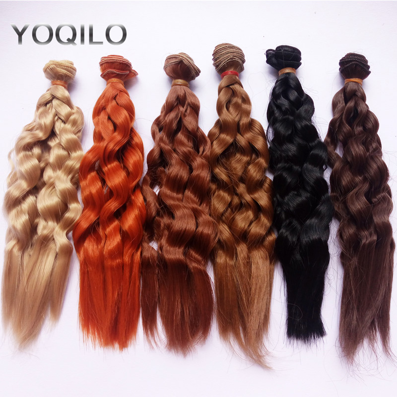 6PCS / LOT SD BJD 머리 위그 자연 색상 곱슬 머리 인형 머리 25CM