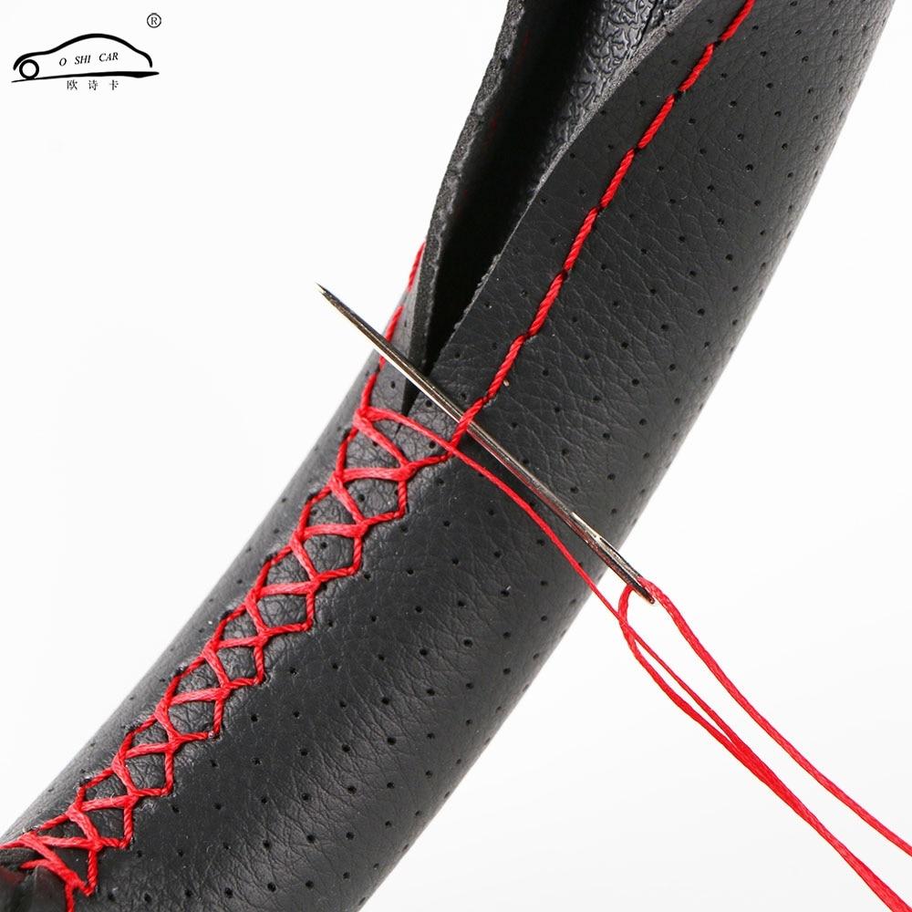Durable ventilera bilhjulskyddet med nålar och tråd / sommar Micro Fiber Leather styrhjulskåpa