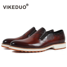 2019 Vikeduo Handmade Hot Men's Loafer Shoes 100% Genuine Leather Fashion Luxury Causal Party Dress Young Man Original Design 2018 sale vikeduo handmade mens loafer black suede 100
