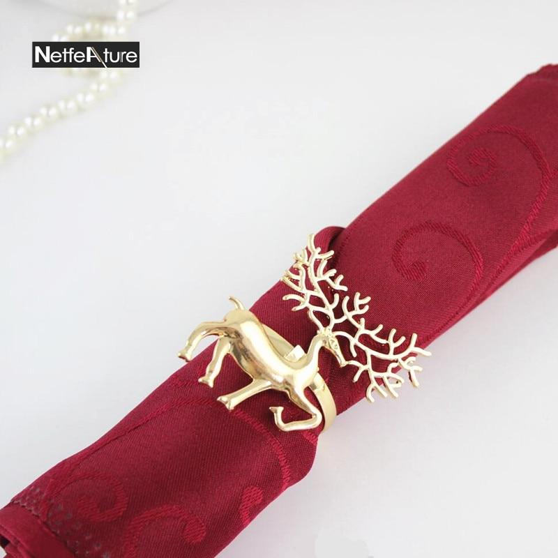 New pcs metal christmas deer shape napkin ring