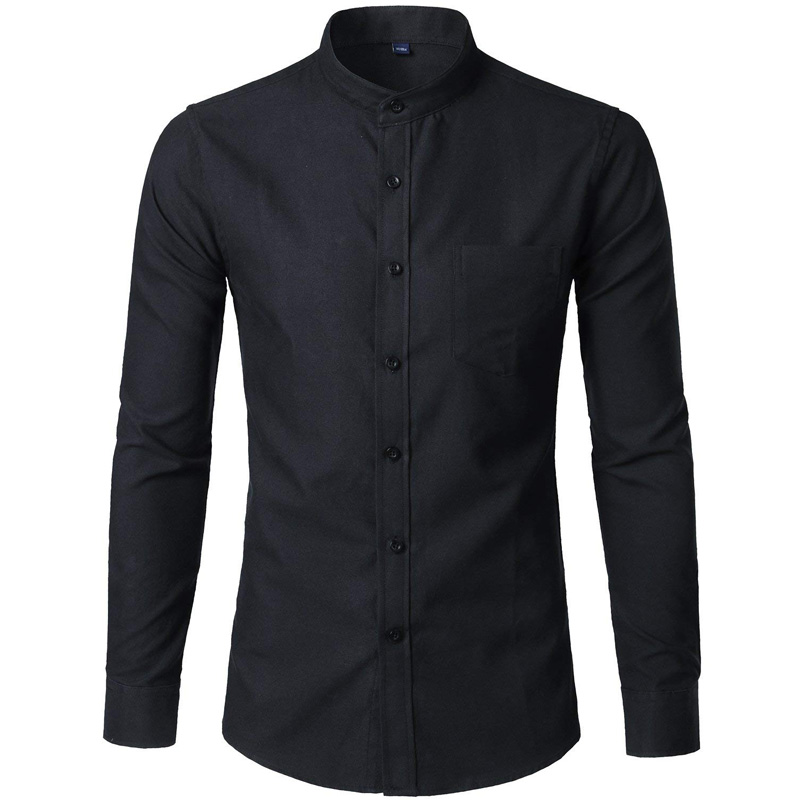Cotton Oxford Shirt Men 2018 Spring New Solid Color Mens Dress Shirts Casual Slim Fit Mandarin Collar Chemise Homme Camisa XXL