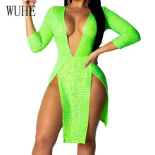 WUHE Womens Summer Fashion High Split Sequined Dress Sexy Deep V-neck Long Sleeve Luxury Party Club Wear Mini Vestidos