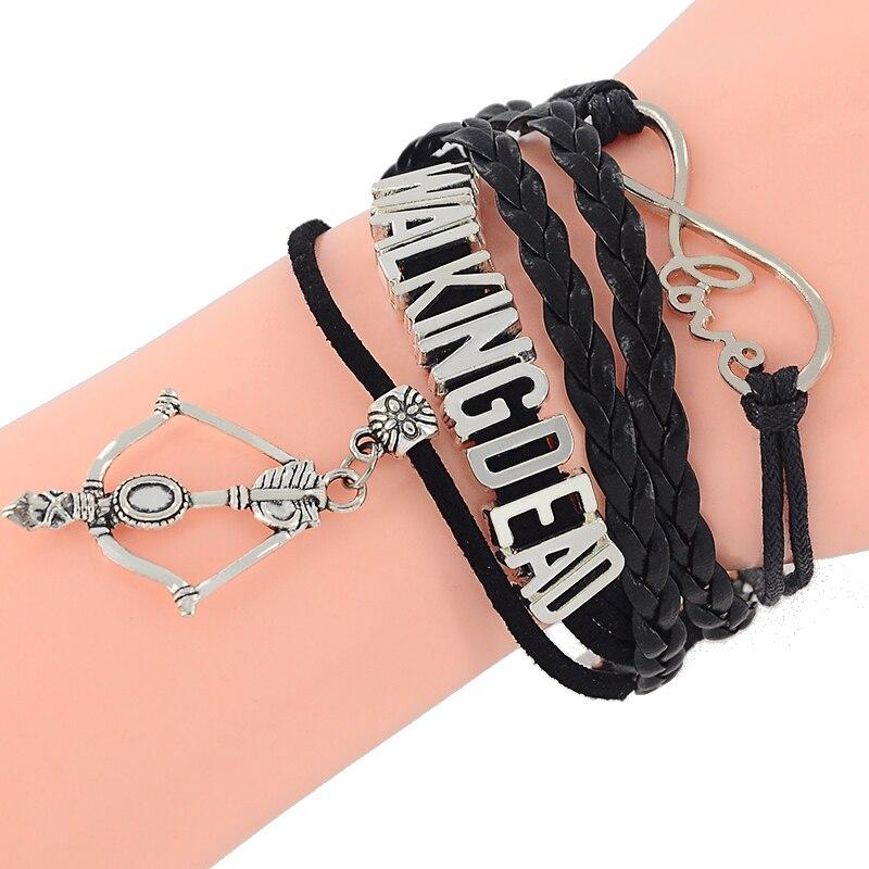 Antique Silver Black Leather Braided Velvet Infinity Love Walking Dead Bracelet Bow Charm Custom Friendship Gift Z-424