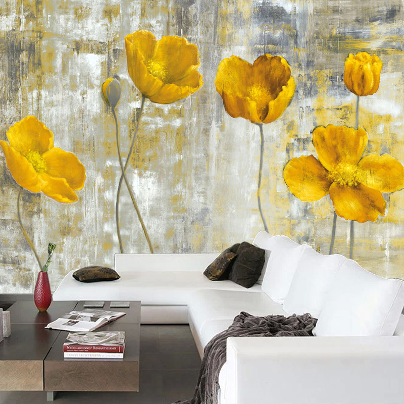 Custom 3D Wall Murals Wallpaper European Style Retro Abstract Flower Mural Art Living Room Bedroom Non-woven Backdrop Wallpaper