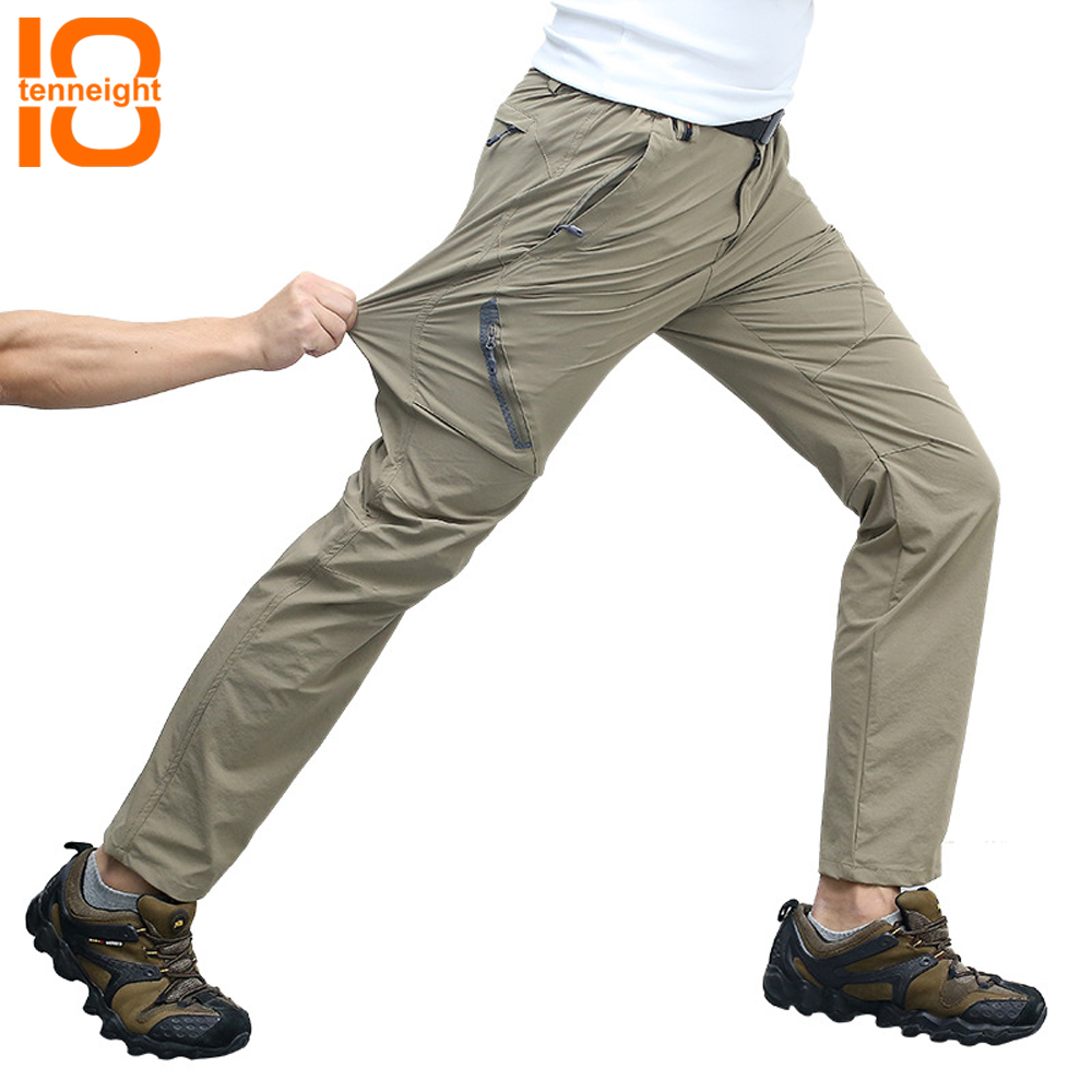 цена на TENNEIGHT Quick Dry Hiking Pants Men Summer Waterproof Camping Trekking Climbing Pants Cycling Trousers Outdoor sports Pants 8XL