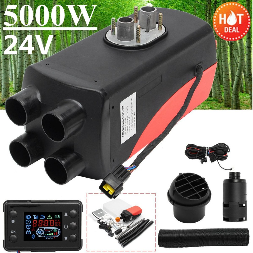 5KW 24V Air Diesels Heater Parking Heater Riscaldatore 4 Holes LCD Switch Car Heater Exhaust Silencer For Free high quality intake silencer and exhaust muffler for air parking heater