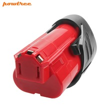 Powtree For Milwaukee 12V 2000mAh M12 Red Rechargeable Power tool Battery Replacement M12 C12 BX C12 B 48-11-2420 48-11-2401