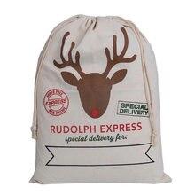 1pc Gift Bag Christmas drawstring Canvas Santa Sack Rustic Vintage Christmas stocking bags, Elk head (As shown)