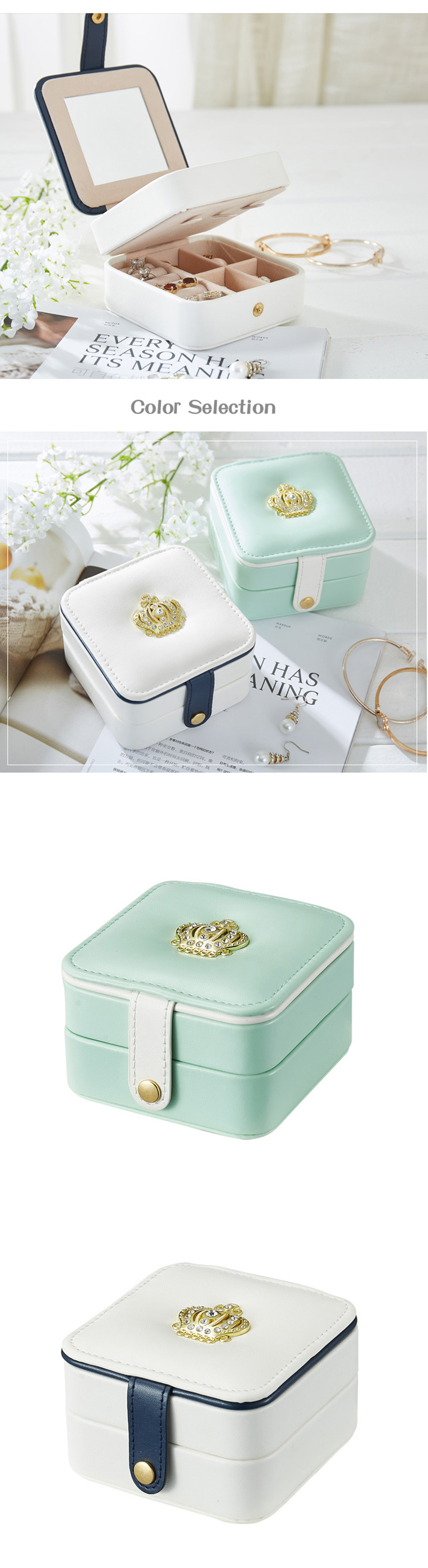 35dceb36652c 2 Color Crown Mini Travel Accessories Case Jewelry Storage Casket Leather  Ring Earring Organizer Box Wedding Birthday Gift Bag