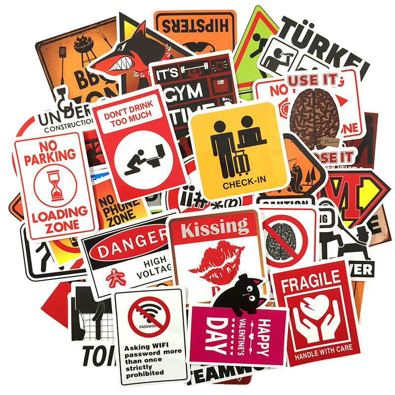 Image 3 - 50 pcs Warning Sign Sticker wallpaper Decal Motorcycle Fridge Skateboard Doodle Funny Stickers for Auto Laptop Trunk Car-in Stickers from Toys & Hobbies