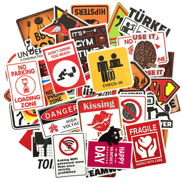 Us 218 20 Off50 Pcs Warning Sign Sticker Wallpaper Decal Motorcycle Fridge Skateboard Doodle Funny Stickers For Auto Laptop Trunk Car In Stickers