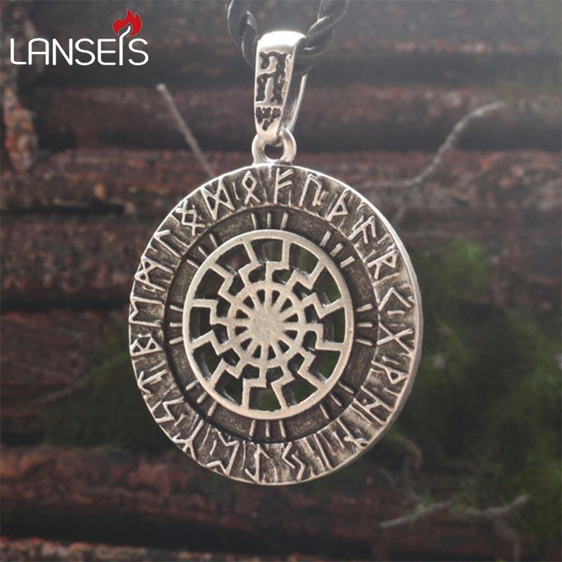 Lanseis 1 pc Roue Solaire Noir Soleil Kolovrat Païen Amulette Slave symbole guerrier talisman hommes pendentif Fabriqués À La Main nordique femmes Bijoux