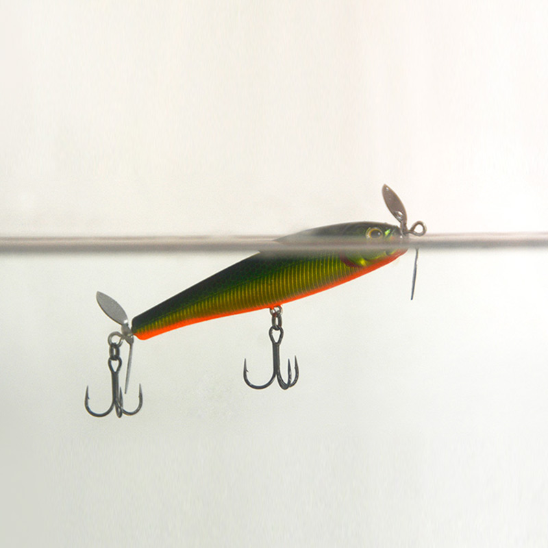 Dual propeller pencil fishing lure topwater plane bait for Spinner fishing lures
