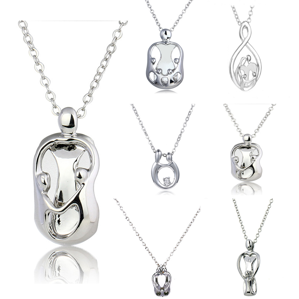 Silver Parents & Children Hand In Hand Family Jewelry Mother Father Pendant Necklace Choker Chain Necklaces Women Men pendant