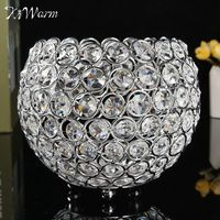 KiWarm Romantic Candle Holders Crystal Candlestick Candle Lantern Candelabra Crystal Candle Holder Home Wedding Party Decor