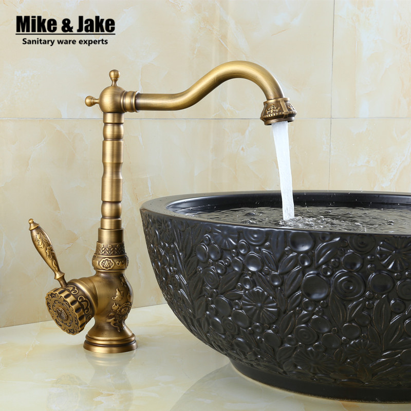 New Arrivel Single Handle Bathroom antique brass Faucet Basin crane tap Antique bronze Hot and Cold Water tap gold water mixer gizero free shipping orange spring kitchen faucet brushed nickle finish single handle hot cold water crane mixing tap gi2069