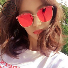 909b50c15b Sella Fashion New Korean Style Cateye Mirror Lens Oversized Sunglasses  Trending Popular Men Women Film Coating Sun Glasses UV400