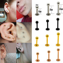 1Pcs 18G/16G 316L Chirurgische Stahl Ball Labrets Stud Ring Ohr Tragus Knorpel Ball Lippen Ring ohrringe Piercing Schmuck(China)
