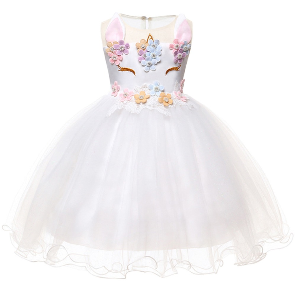 Elegant Baby Girl Dress White Tulle Spliced Flower Unicorn Party Birthday Costume Dress Wedding Baby Bridesmaid Princess Dress