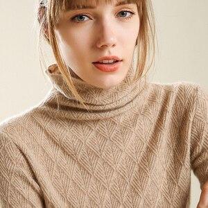 Image 2 - Kaszmirowe miękkie swetry z golfem i pulowery dla kobiet ciepły, puszysty jesienno zimowy sweter damski sweter marki