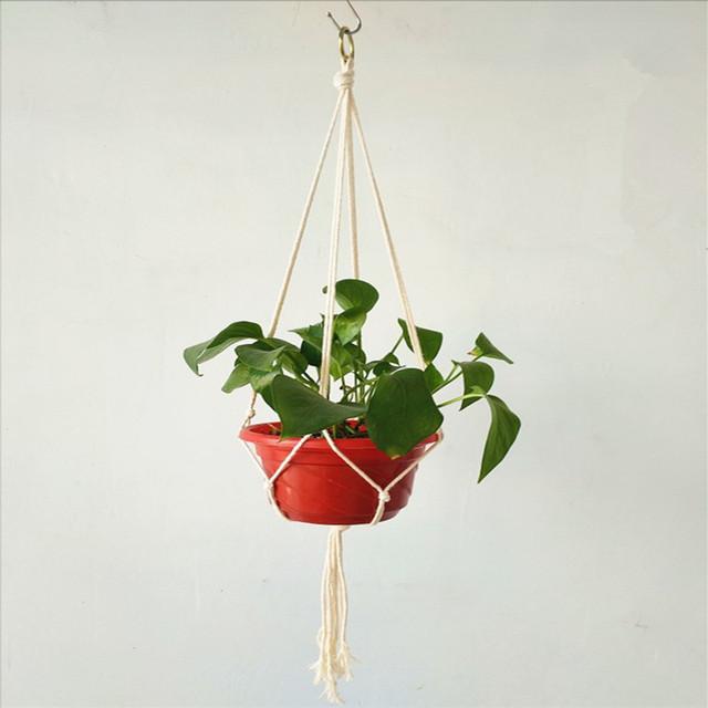 Hemp Pot Hanging Rope Macrame Plant Pot Holder Hanger Home Garden Decoration Hanging Flower Pot Display Indoor Outdoor