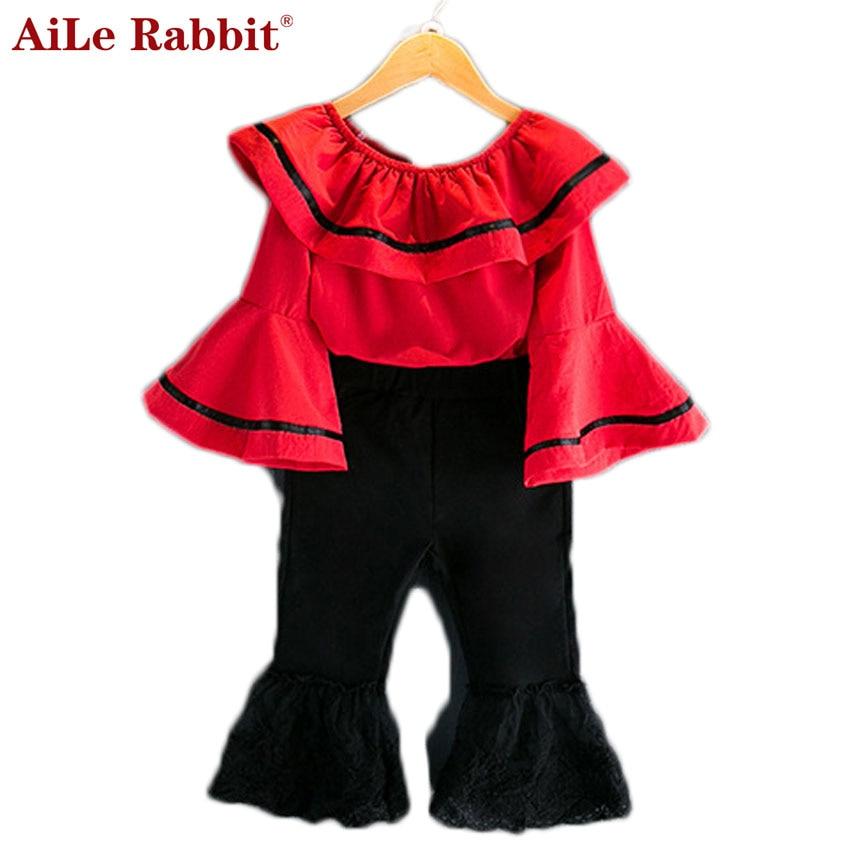 AiLe Konijn Nieuw Meisje Suit Tops Broek 2 Stuks Set Speaker Mouwen - Kinderkleding