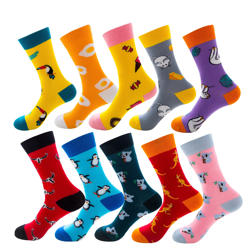 Creative Novelty Funny Crazy Animal Food Crew Socks Mens Colorful Fun Cool Space Astronaut Dinosaur Einstein Corgi Dress Socks For Men Underwear & Sleepwears