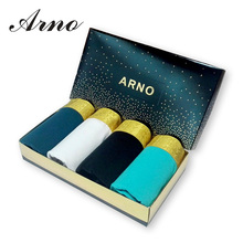 [ARNO] 4 pieces/lot New Arrivals Mens Underwear Briefs Fashion Gold Waist Sexy Cotton Men Sous Vetement Homme,MTU50801-4