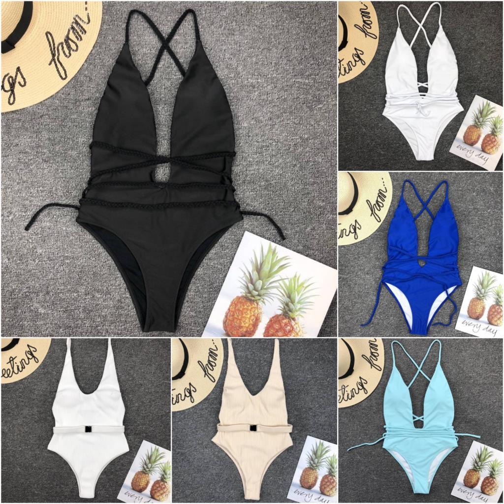 2018 купальный костюм для женщин купальный костюм Цельный купальник сексуальный чистый Глубокий V открытая спина купальник Maillot De Bain Femme