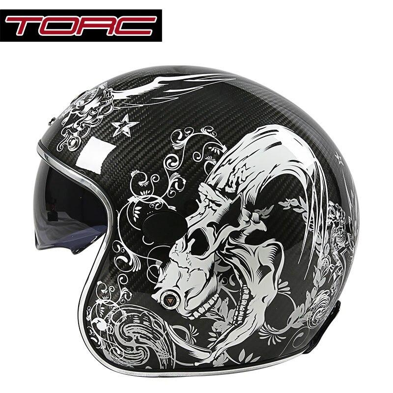 TORC V587 in fibra di carbonio casco moto d'epoca con sun shield harley retro moto casco aperto del fronte scooter moto caschi