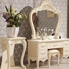 Европейский зеркальный стол, современный комод для спальни, французская мебель, белый французский туалетный столик 3258