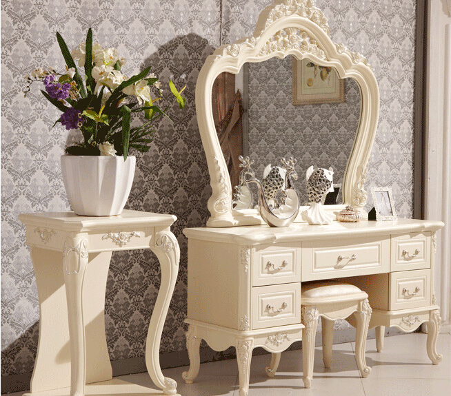 US $580.0 |European mirror table modern bedroom dresser French furniture  white french dressing table 3258-in Dressers from Furniture on AliExpress