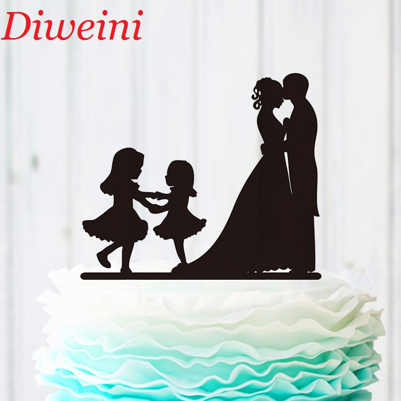 Family Wedding Cake Topper Bride And Groom Two Little -7575
