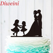 Family Wedding Cake Topper Bride and Groom Two Little Girls,Silhouette Couple Party Supplies, Unique Decoration