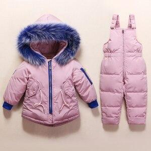 Image 1 - 아기 소년을위한 새로운 러시아 겨울 옷 소녀 1 4 년 어린이 정장 아래로 정품 모피 칼라 키즈 자켓 여자 겨울 코트