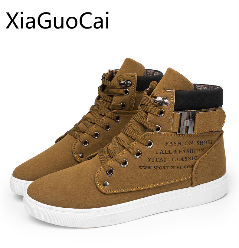 Fashion High Top Winter Men Casual Shoes Lace-up Height Increasing Male Pu Leather Casual Shoes Winter Flat Shoes for Men X3 chilenxas autumn winter large size 35 45 leather men casual shoes lace up breathable lovers height increasing fashion waterproof