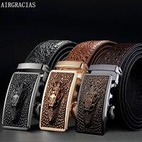 AIRGRACIAS Men Genuine Leather Men Crocodile Pattern Belt Automatic Buckle Strap Dragon Designer Men High Quality