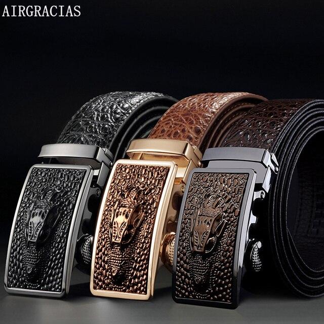 763db28697e7 AIRGRACIAS Hommes Véritable Cuir Hommes Crocodile motif Ceinture  Automatique Boucle Sangle Dragon Designer Hommes de Haute
