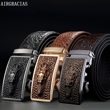 Men's High Quality Genuine Leather Automatic Buckle Crocodile Pattern Belt