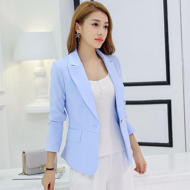 New Long-Sleeved Slim Mulheres Blazers E Jaquetas Mulheres Pequenas Terno Versão Coreana de Slim Senhoras Blazer Femme Feminino Colorido