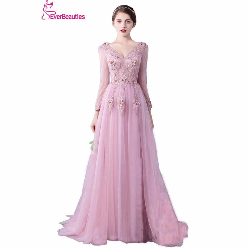 Evening Dress Long Sleeve 2019 A line Flowers V Neck Pink Lace Flowers  Tulle Prom Dresses 8e6ca9111fc6