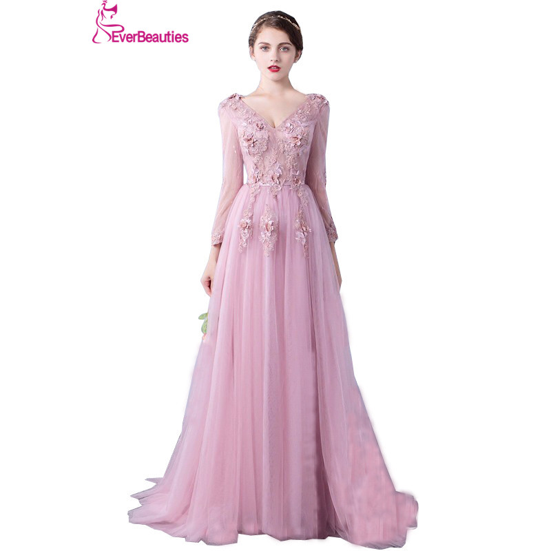 Evening     Dress   Long Sleeve 2019 A line Flowers V Neck Pink Lace Flowers Tulle Prom   Dresses   Lace Up Robe De Soiree Longue Dentelle