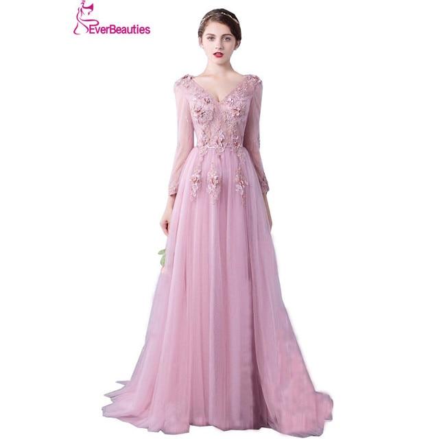 Evening Dress Long Sleeve 2018 A line Flowers V Neck Pink Lace ...