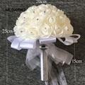 Ivory rose et blanc ramo de la boda de dama de Honor flor rosa artificial ramo de Cristal ramo de novia de mariage