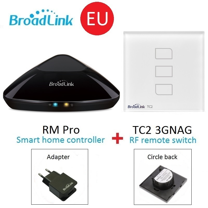 Broadlink RM Pro Universal wireless remote controller+TC2 EU 3gang Wall Switch Smart home Automation by smart phone IOS Android broadlink tc2 us au uk eu 3gang switch smart home automation phone remote wireless wall light touch switch crystal glass panel