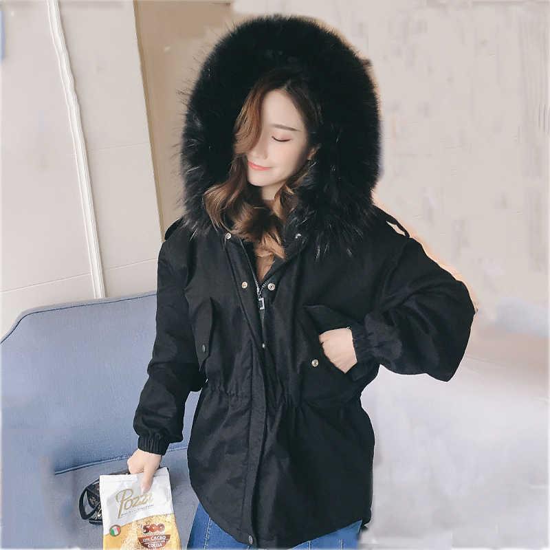 2019 New arrival fashion Korea style damska kurtka zimowa krótka luźna duża, futrzana z kapturem płaszcz damski solidny płaszcz żeński parka