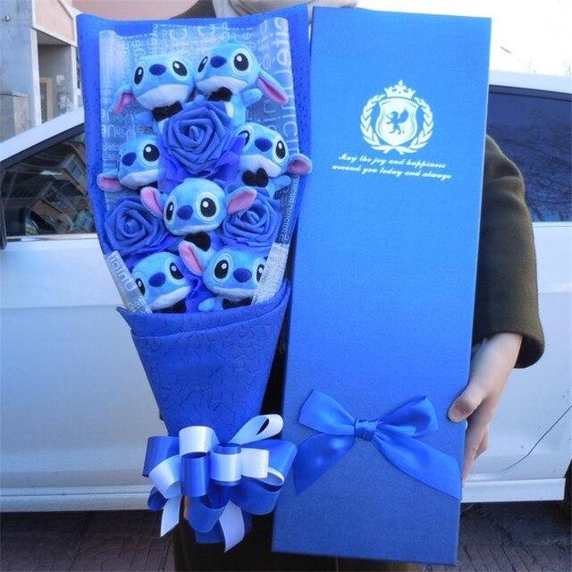 Ponto Kawaii Brinquedos de Pelúcia Anime Lilo e Stitch Ponto bouquet De Pelúcia Macia Stuffed Animal Dolls presente caixa de Presente de Aniversário Das Crianças