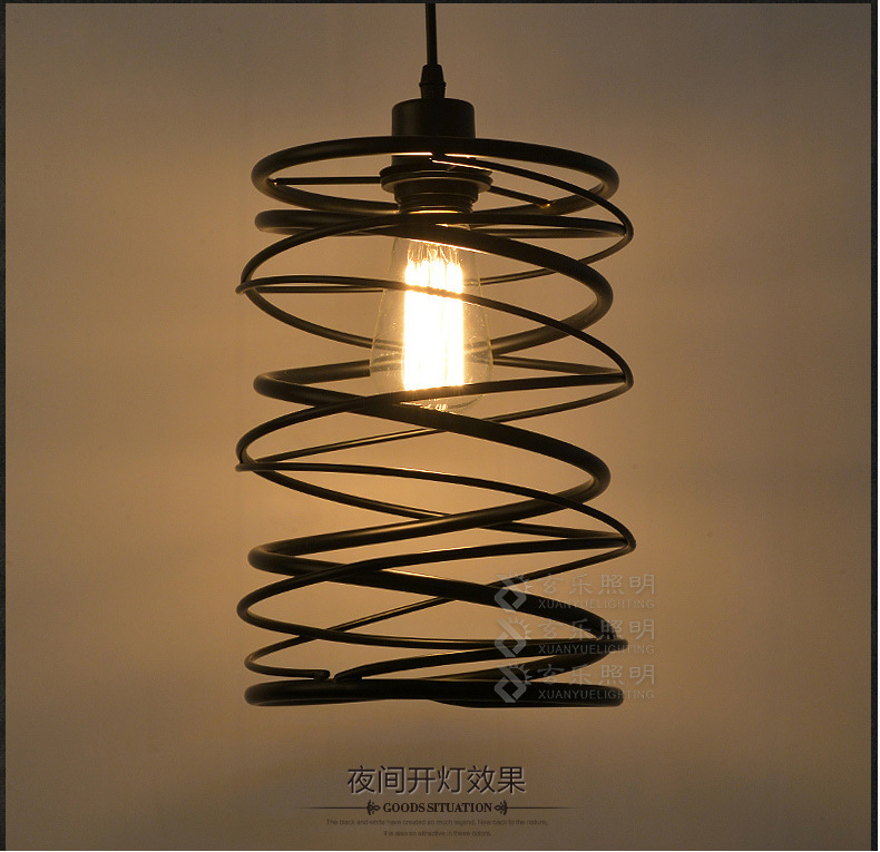 Americian Country Loft Style Iron Pendant Lamp Industrial Retro Dining Light Spin Shade Bedroom Living Room Light Free Shipping european style retro glass chandelier north village industrial study the living room bedroom living rough bar lamp loft