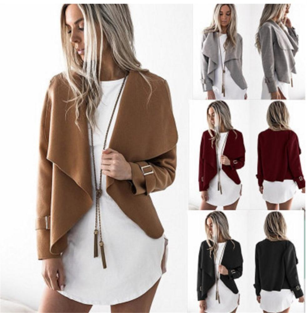 Autumn Spring Long Sleeve Solid Cardigan Women Wide Lapel Woolen Coat Jacket Slim Outwear Jacket Wine Gray Black Green Khaki