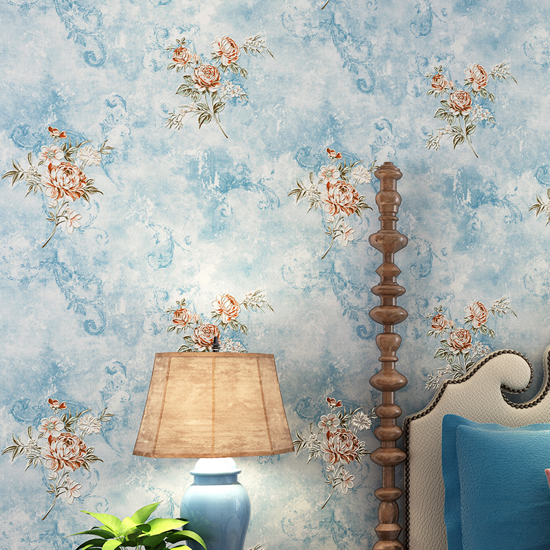 Rustic Floral Wallpaper Roll 3D Non-woven Wall Paper for Walls Pink,Blue,Light Blue,Purple Yellow Wallpapers Flower for Bedroom fashion rustic wallpaper 3d non woven wallpapers pastoral floral wall paper mural design bedroom wallpaper contact home decor